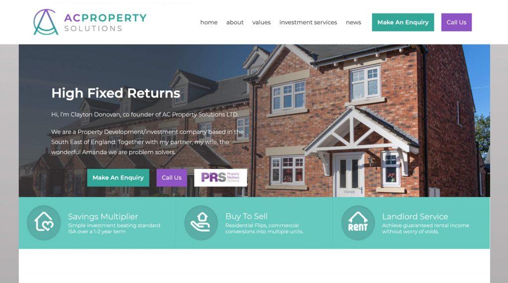 AC Property website. Digitiv digital marketing agency in Colchester.