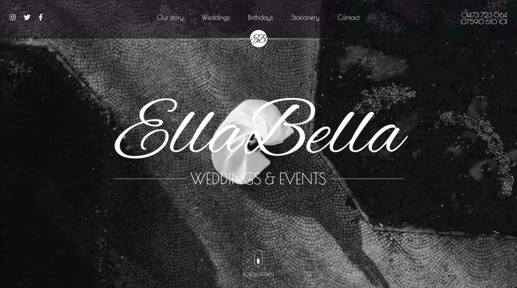 Ella Bella weddings and events. Website by Digitiv.