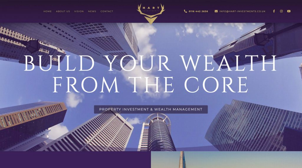 Hart investments website. Digital marketing agency in Colchester.