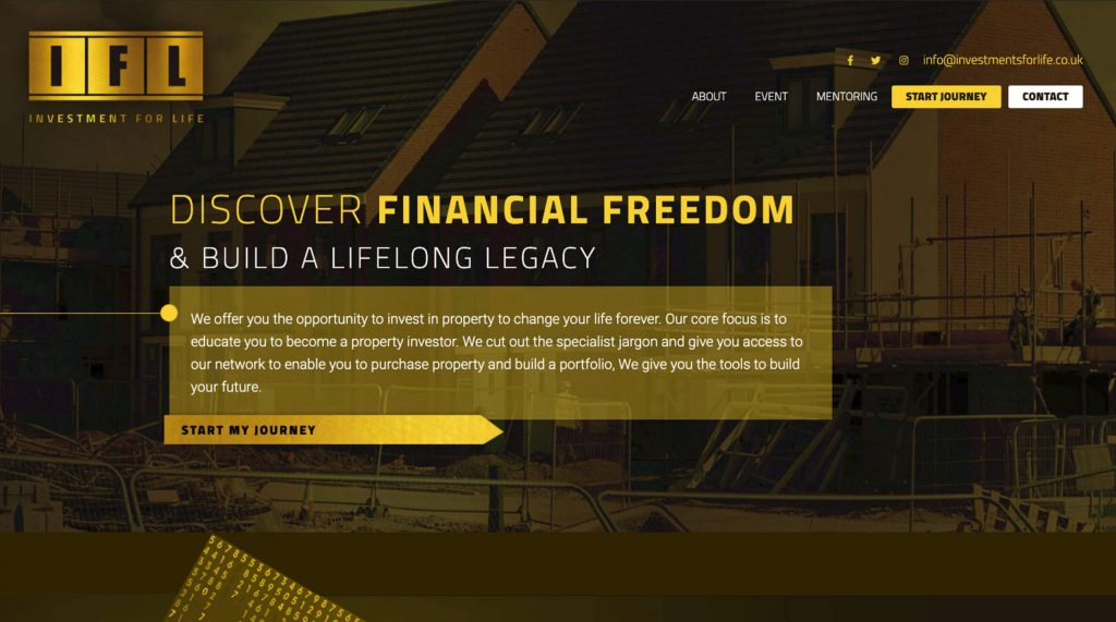 Investments For Life website. Digital marketing agency in Colchester