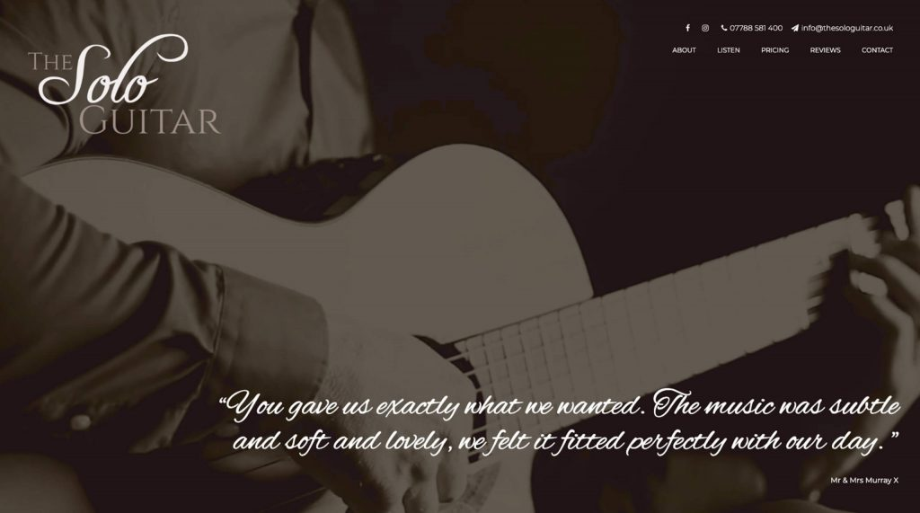 The Solo Guitar website built by Digitiv.