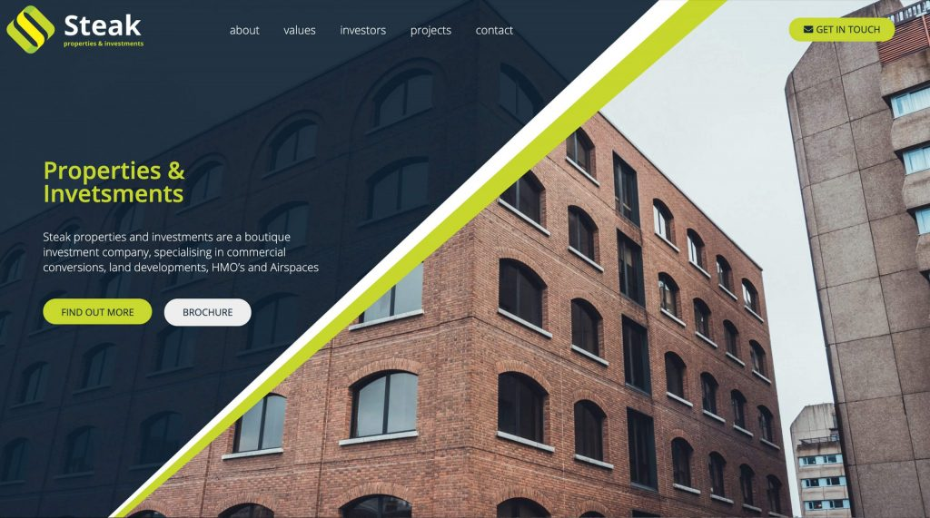 Properties and Investments websites. Creative agency in Colchester, Essex.